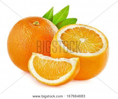 Orange fruit with leaves