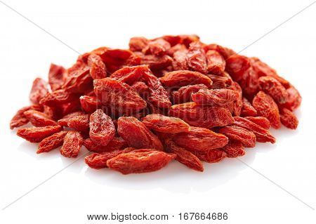 Goji berries on a white background