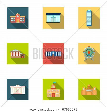 Building set icons in flat style. Big collection of building vector symbol stock