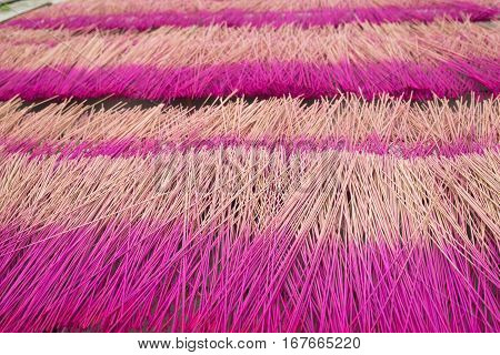 Incense Sticks Are Drying Outdoor Under Sunlight At Cao Thon, The Vietnamese Traditional Crafts Vill