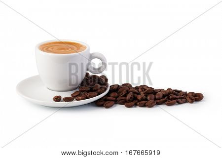 cup of coffee on white background