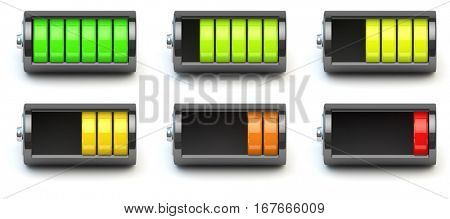 Battery charging. Battery charge level indicators isolated on white. 3d illustration