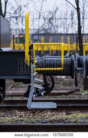 Burgas Bulgaria - January 24 2017 - Stairs- Freight cargo train - 6-axled flat wagon - Sahmmn - WW 604 A- Transvagon AD