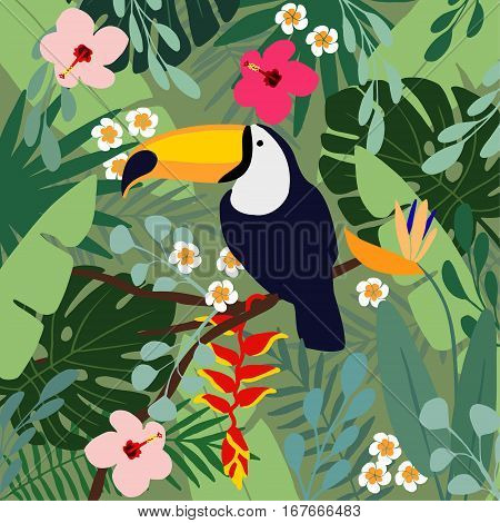 Summer tropical background. Toucan bird with palm leaves, hibiscus, heliconia and plumeria flowers. Stock vector illustrations, flat design.
