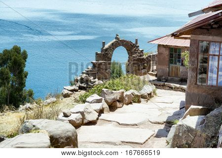 View toward Lake Titicaca from Taquile Island Peru