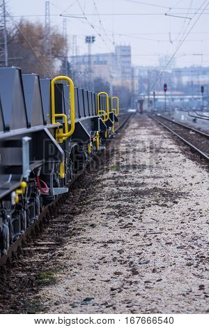 Burgas Bulgaria - January 24 2017 - Freight cargo train - 6-axled flat wagon - Sahmmn - WW 604 A- Transvagon AD