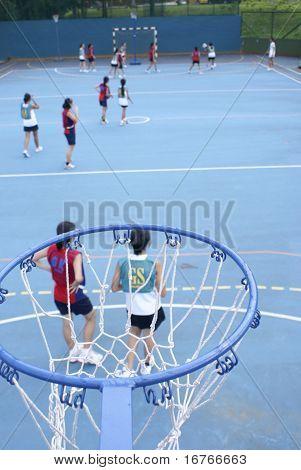 Asian teen netball game from high