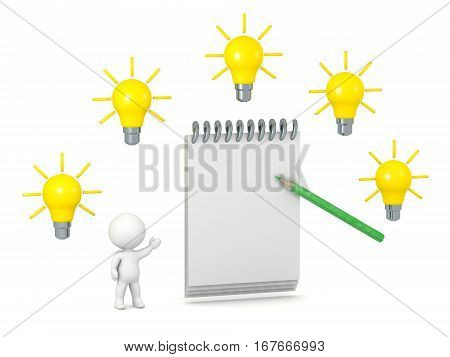 A 3D character with a large empty notepad and many idea light bulbs. Isolated on white background.