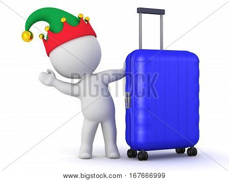 A 3D character in an elf hat waving from behind a travel trolley. Isolated on white background.