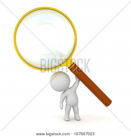 A small 3D character holding up a large magnifying glass. Isolated on white background.