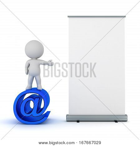 A 3D character with an at symbol showing a roll-up poster. Isolated on white background.