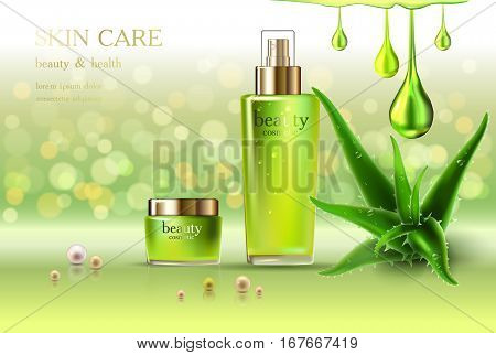 Beauty cosmetic product poster aloe vera cream ads makeup template golden bottle package skin care cream or liquid. Sparkling green shiny glitter background 3D Vector stock illustration .