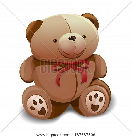 Cute teddy bear with a red bow. Baby teddy bear on a white background. Vector illustration