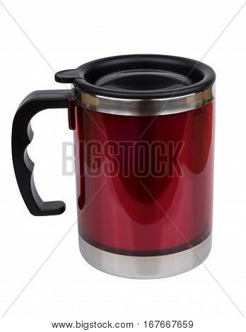 Red Steel Thermo Mug With Lid