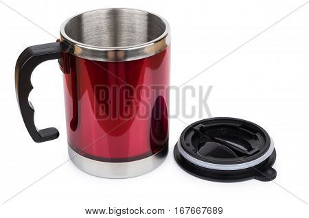 Red Steel Thermo Mug And Black Plastic Lid