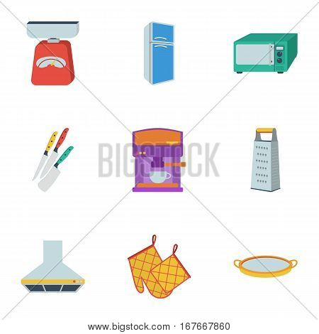 Kitchen set icons in flat style. Big collection of kitchen vector symbol stock