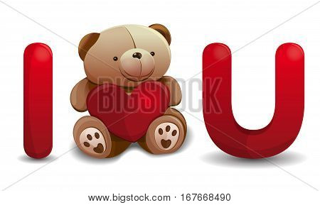 Valentine's Day design. I love you. Love, hearts. Cute teddy bear with red heart. Design elements for decoration romantic greeting cards. Vector illustration