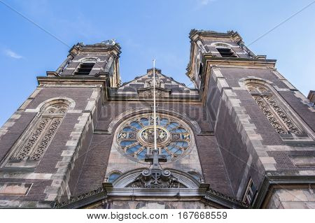 Facade Of The Historical St. Nicolas Church In Amsterdam