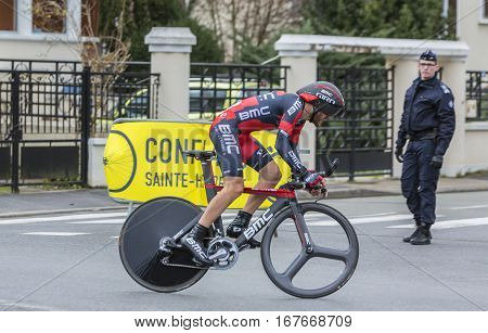 Conflans-Sainte-HonorineFrance-March 62016: The Swiss cyclist Danilo Wyss of BMC Racing Team riding during the prologue stage of Paris-Nice 2016.
