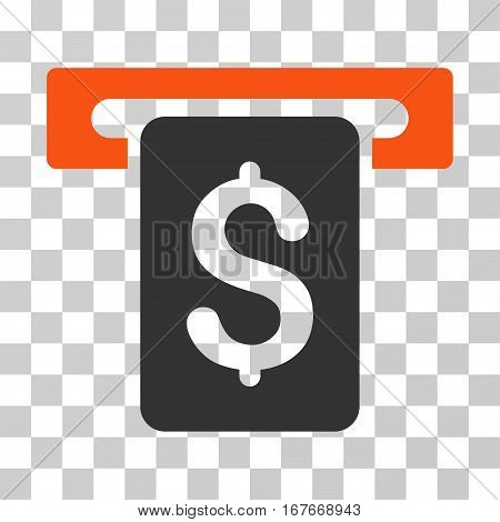 Cash Withdraw icon. Vector illustration style is flat iconic bicolor symbol orange and gray colors transparent background. Designed for web and software interfaces.