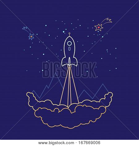 Space Rocket Flies into Space, Spaceship on a Background of the Starry Sky and Mountains, Launch Spacecraft ,Line Style , Logo Design Element