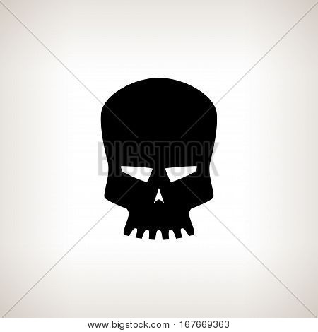 Robot Skull Silhouette Skull on a Light Background Isolated бDeath's-headб Black and White Illustration