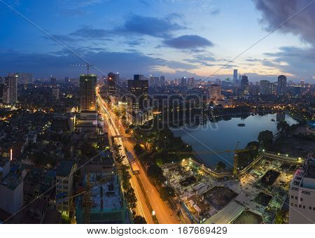 Aerial View Of Urban Skyline At Twilight. Hanoi Cityscape. Thanh Cong Lake And Lang Ha Street View