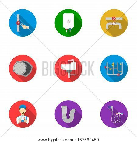 Plumbing set icons in flat style. Big collection of plumbing vector symbol stock