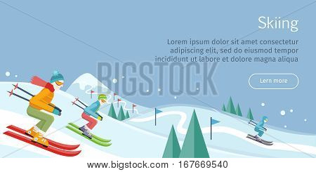 Skiing web banner. Skiers on snowy slope competition. Person skiing flat style. Winter season recreation sport activity. Slalom sport ski race. Athletes on downhill. Extreme speed skiing. Vector