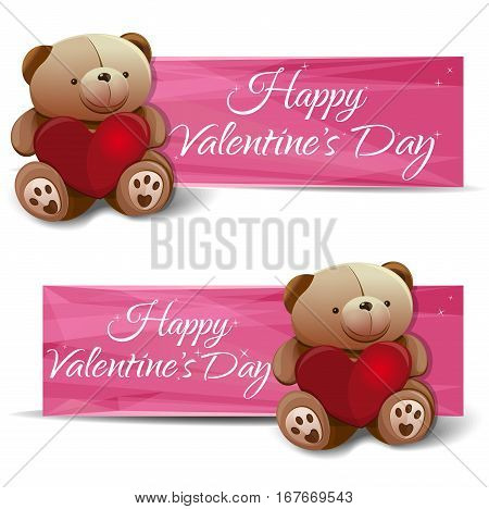 Banner set with a Teddy bear, heart, and congratulations on Valentine's Day. Teddy bear with red heart. Pink banners for Valentine's Day. Vector illustration