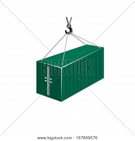 Green Container with Crane Isolated on White ,Container Hanging on Crane Hook