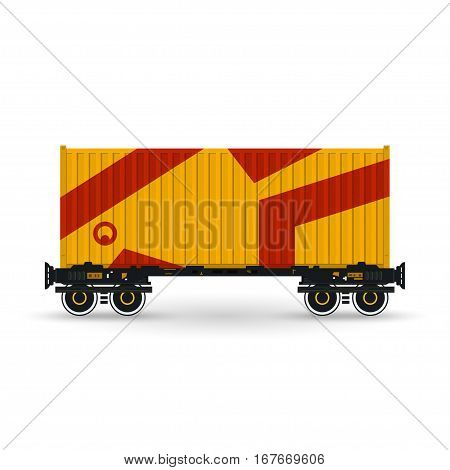 Orange Container on Railroad Platform, Railway and Container Transport ,Platform with Container Isolated on White