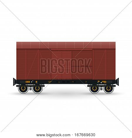 Closed Wagon Isolated on White, Railway Transport, Covered Freight Car for Transportation of Goods