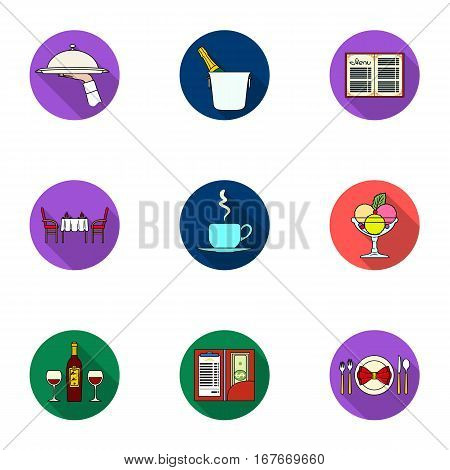 Restaurant set icons in flat design. Big collection of restaurant vector symbol stock illustration