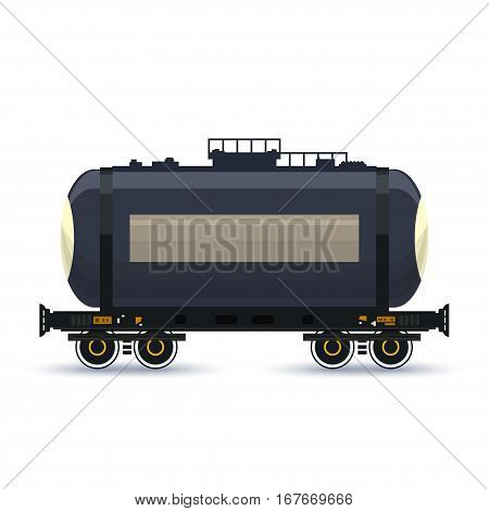 Tank on Railway Platform Isolated on White ,Railway Transport, Railway Car the Tank for Transportation of Liquid and Loose Freights