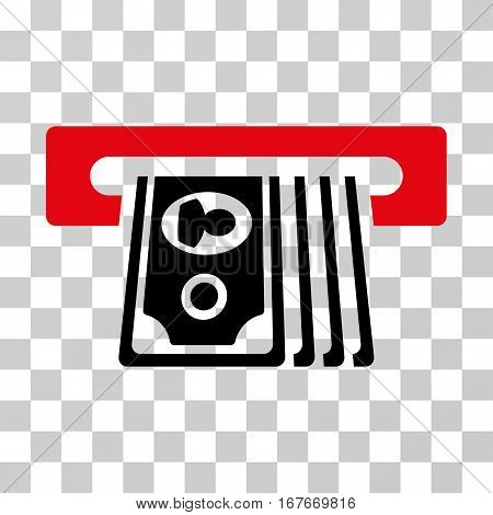 ATM Insert Cash icon. Vector illustration style is flat iconic bicolor symbol intensive red and black colors transparent background. Designed for web and software interfaces.