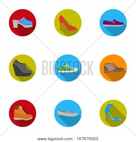 Shoes set icons in flat style. Big collection of shoes vector symbol stock