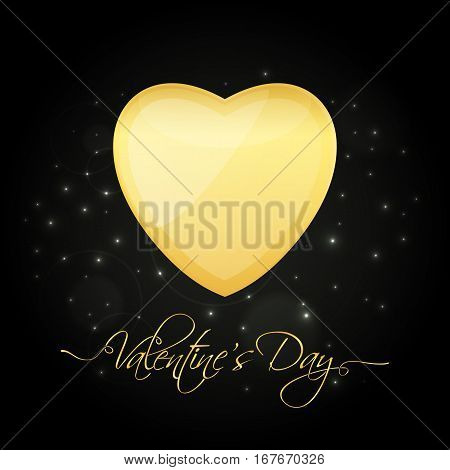 Valentine's Day golden heart over starry night background for your greeting card design