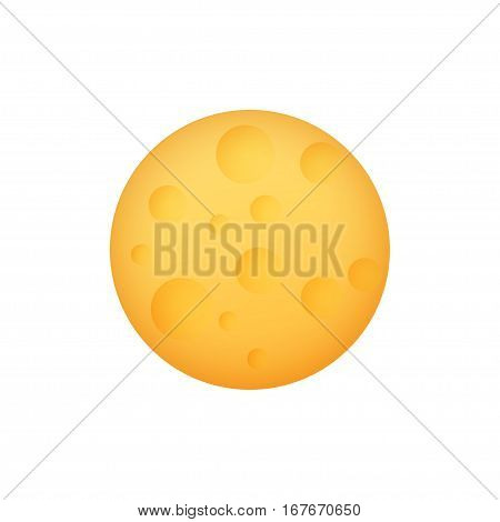 Yellow Moon, Space Planet with Craters Isolated on White Background, Illustration