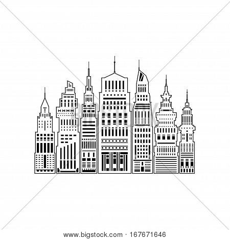 Modern Big City with Buildings and Skyscraper, Architecture Megapolis, City Financial Center Isolated on White Background, Line Style Design, Black and White Illustration