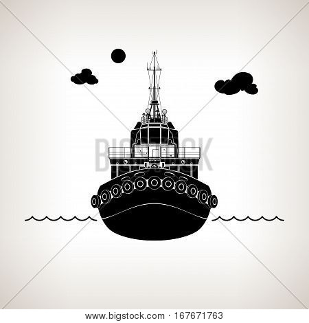 Front View of the Vessel, Tugboat Push Boat on Light Background, Silhouette Tow Boat for to Towage and Mooring of Other Courts