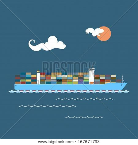 Cargo Container Ship at Sea, Industrial Marine Vessel with Containers on Board, International Freight Transportation