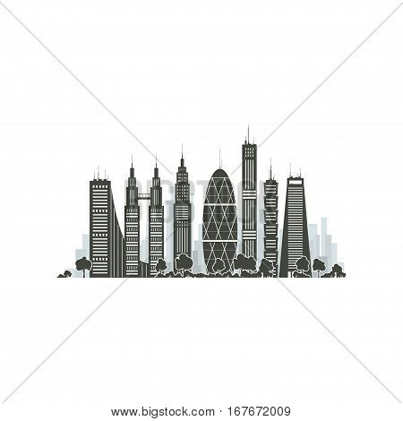 Modern Big City with Buildings and Skyscraper Isolated on White Background ,Architecture Megapolis, City Financial Center