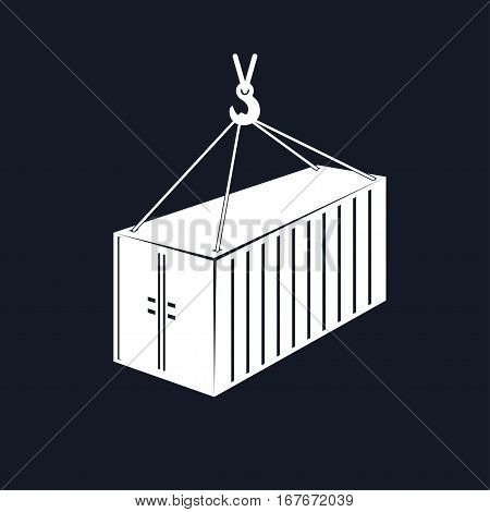 Container with Crane Isolated on Black Background, Container Hanging on Crane Hook