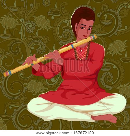 Vector design of artist playing Bansuri flute folk music of India on floral background
