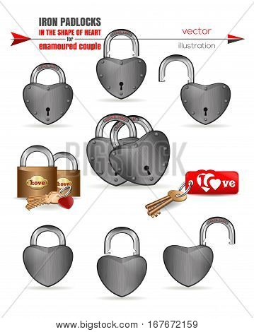 Metal, iron padlocks in the shape of heart for enamoured couple. Set locks with the inscriptions - Love, Love You. Loks isolated on white background. Locks for lovers. Vector illustration