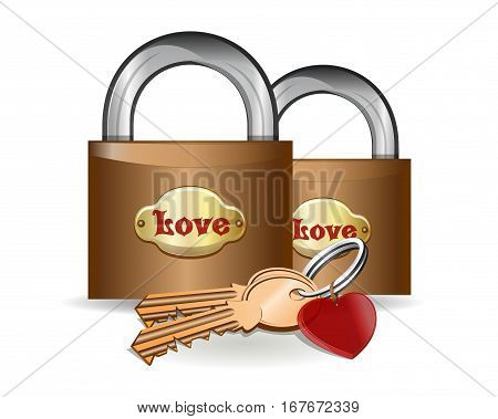 Pair locks with an inscription - love. Locks, keys, heart, love, romantic design. Locks for enamoured pairs and keys with keychain in the shape of a heart. Vector illustration