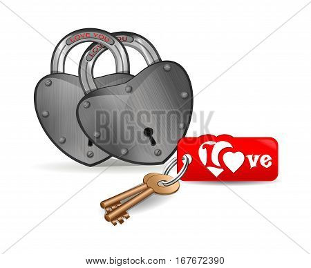 Padlock in the shape of a heart with an inscription - love you. Romantic design. Closed iron heart-shaped locks and keys to them. Locks for enamoured pairs. Vector illustration