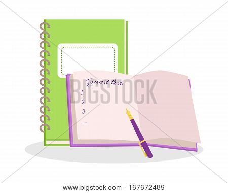 Wedding notebooks vector illustration. Flat design. Two color notepads with guest list and pan on opened page. Preparation for the solemn ceremony. For wedding organization concept. White background