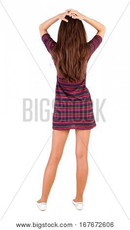 Back view of shocked  woman in dress. upset young blonde girl. Rear view people collection.  backside view of person.  Isolated over white background.